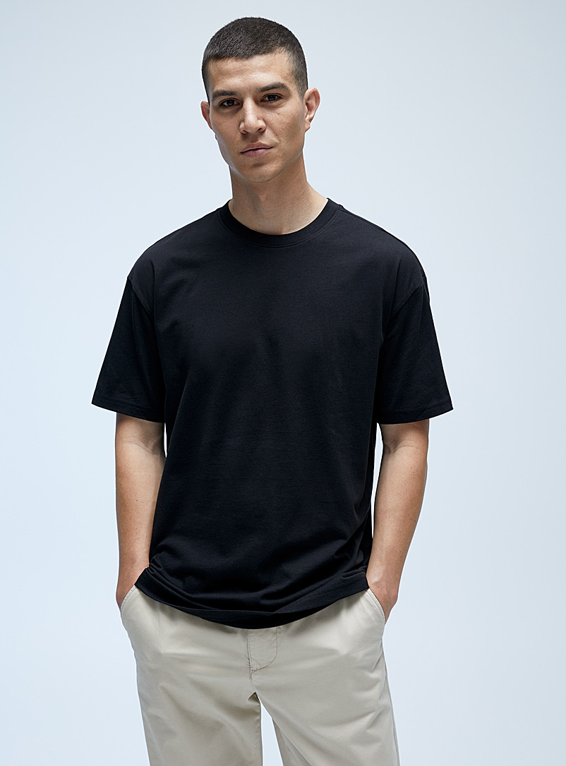 Le 31 Black Pima cotton T-shirt for men