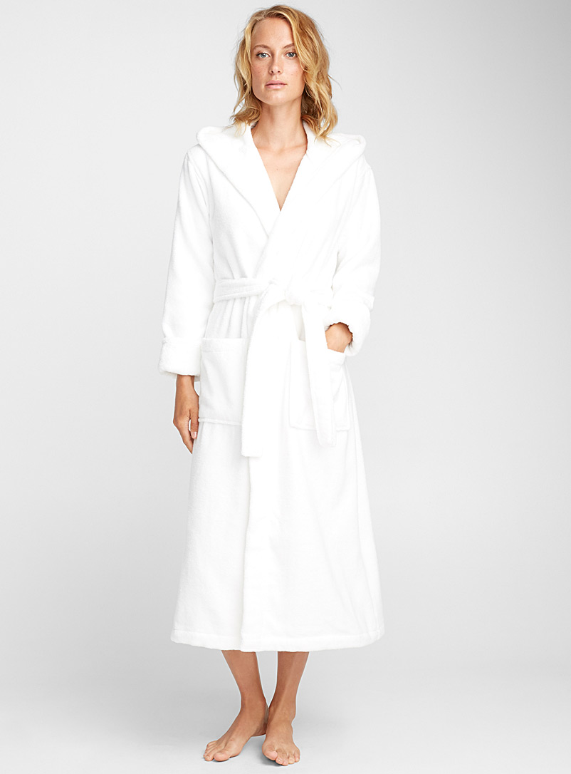 Long spa terry robe - Bathrobes - White