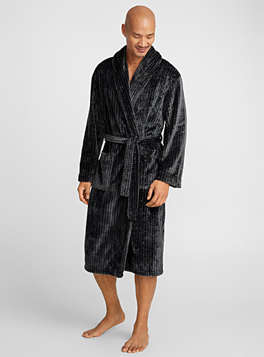 Zigzag polar fleece robe