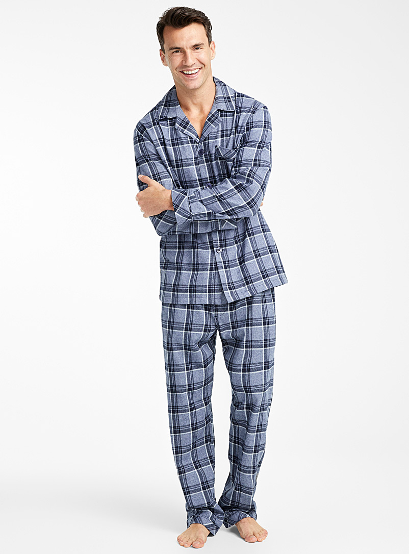 Heathered tartan flannel pyjama set - Sleepwear & Leisurewear - Slate Blue