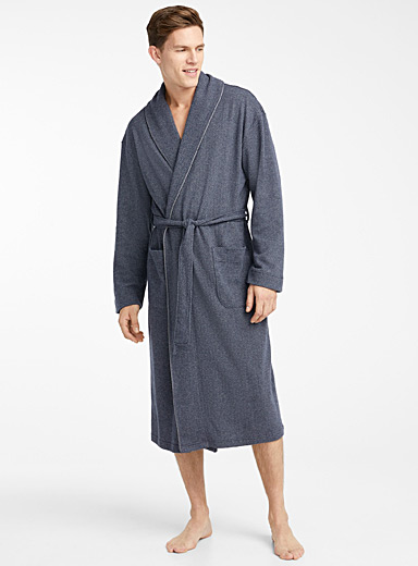 Herringbone fleece robe