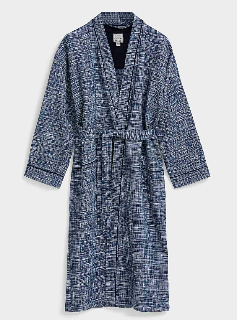 Majestic Marine Blue Heathered check waffle robe for men