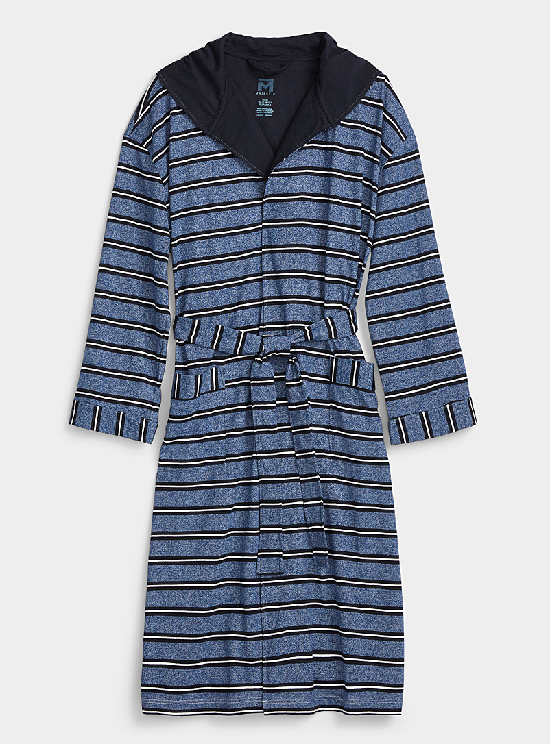 Majestic Patterned Blue Heathered-stripe robe for men