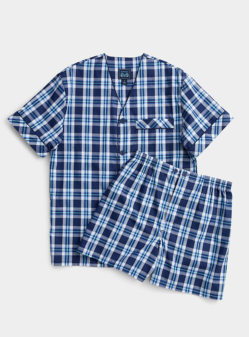 Majestic Patterned Blue Seaside check pyjama set for men