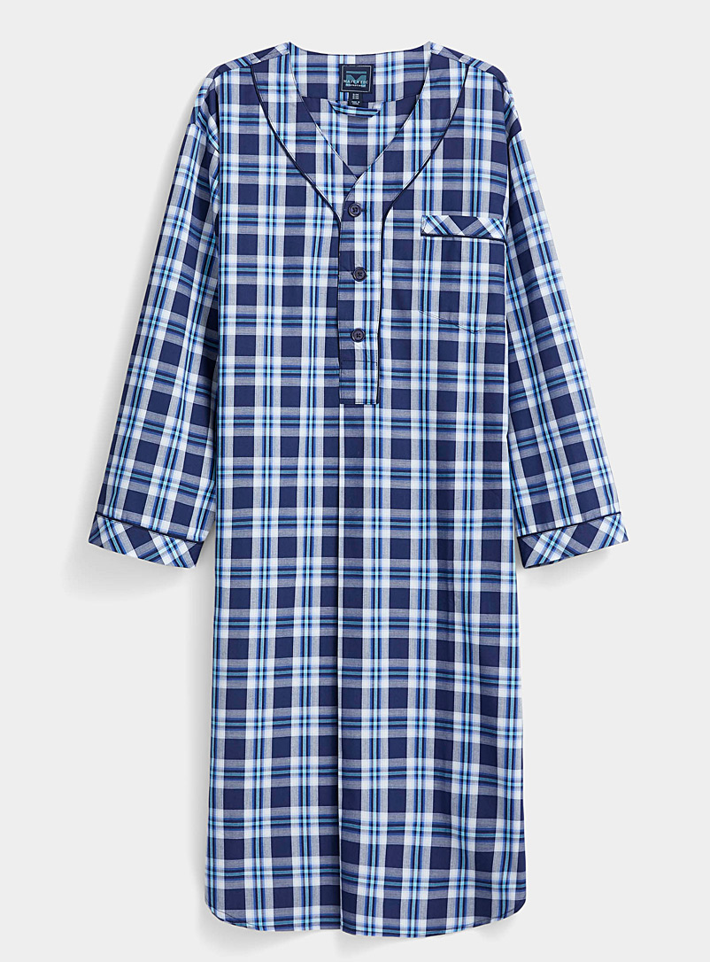 Majestic Patterned Blue Seaside check nightshirt for men