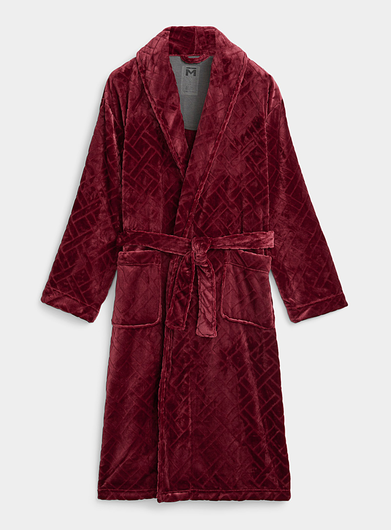 Majestic Red Textured polar fleece velvet robe for men