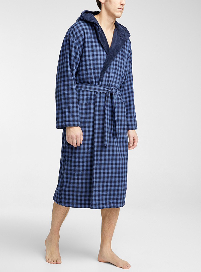 Check flannel hooded robe