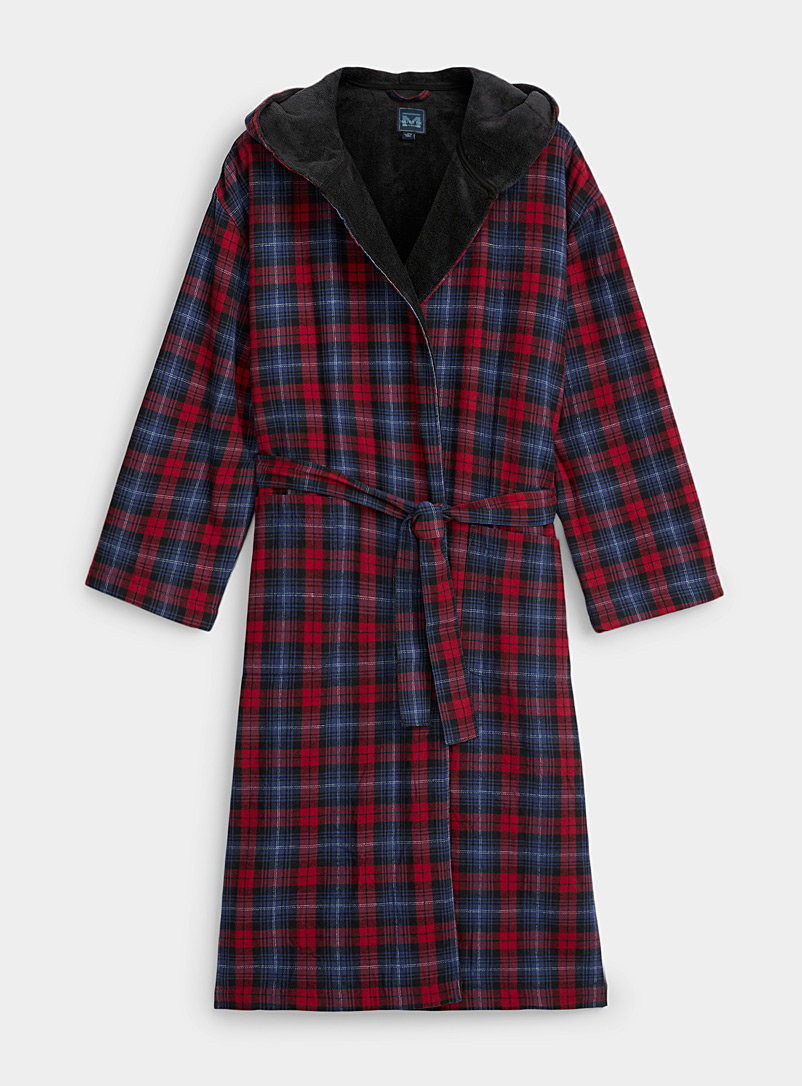 Majestic Patterned Red Check flannel hooded robe for men