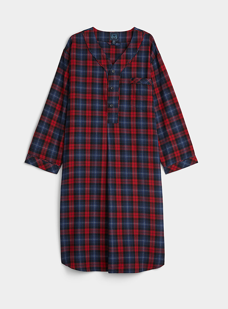 Majestic Patterned Red Plaid flannel nightshirt for men