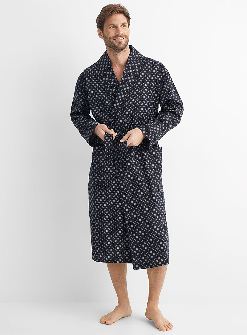 Majestic Patterned Black Mosaic poplin robe for men