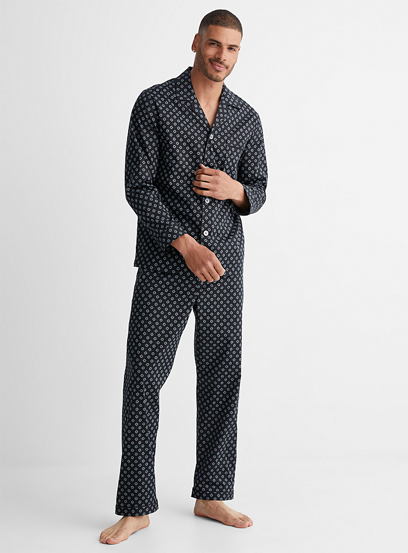 Majestic Patterned Black Mosaic pyjama set for men