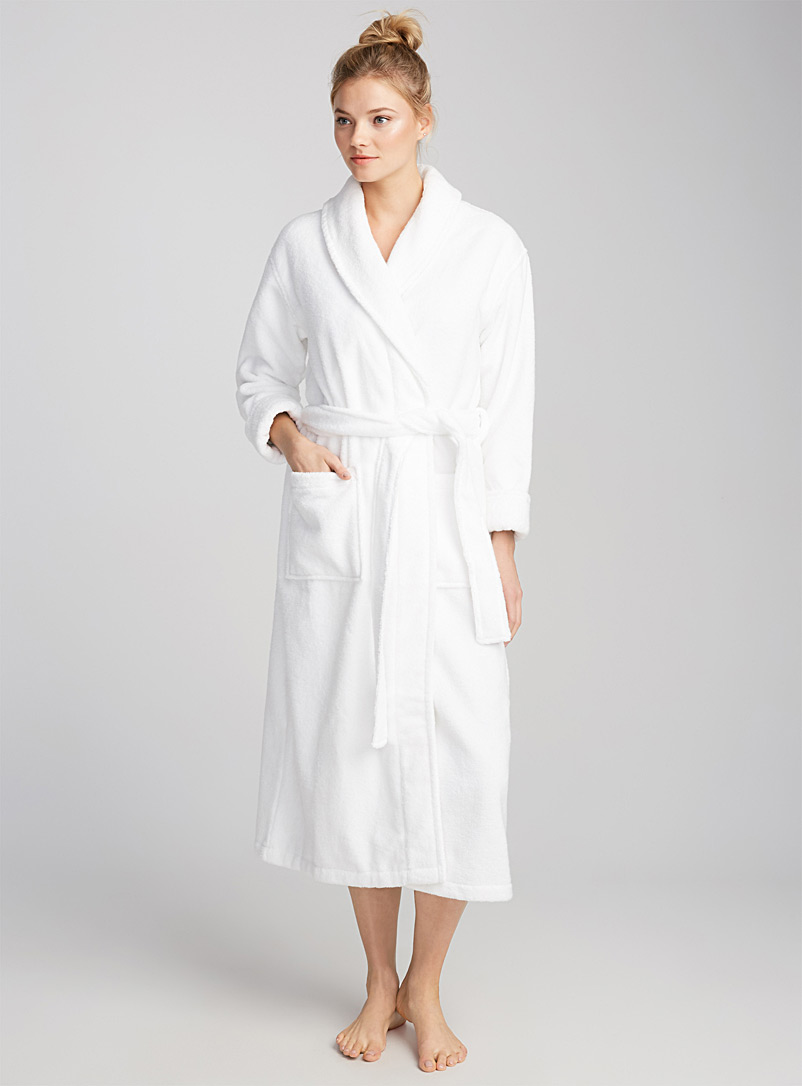Miiyu White Long spa terry robe for women