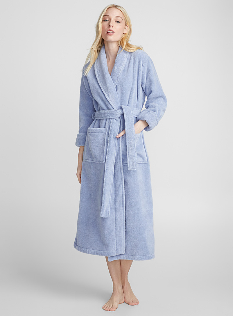 Long spa terry robe - Bathrobes - Blue