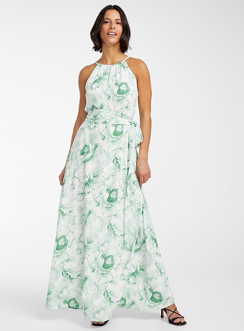 Anonyme Designers Patterned Green Roman jade garden dress for women