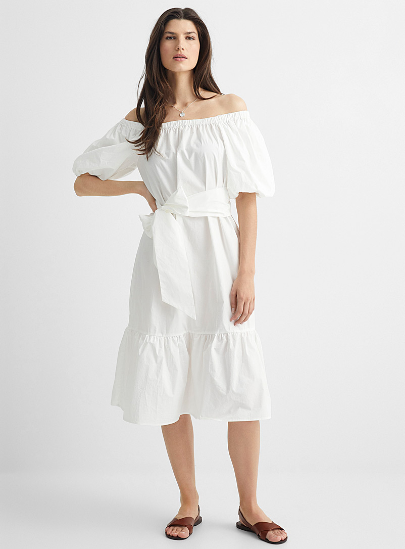 Anonyme Designers White Off-the-shoulder poplin dress for women