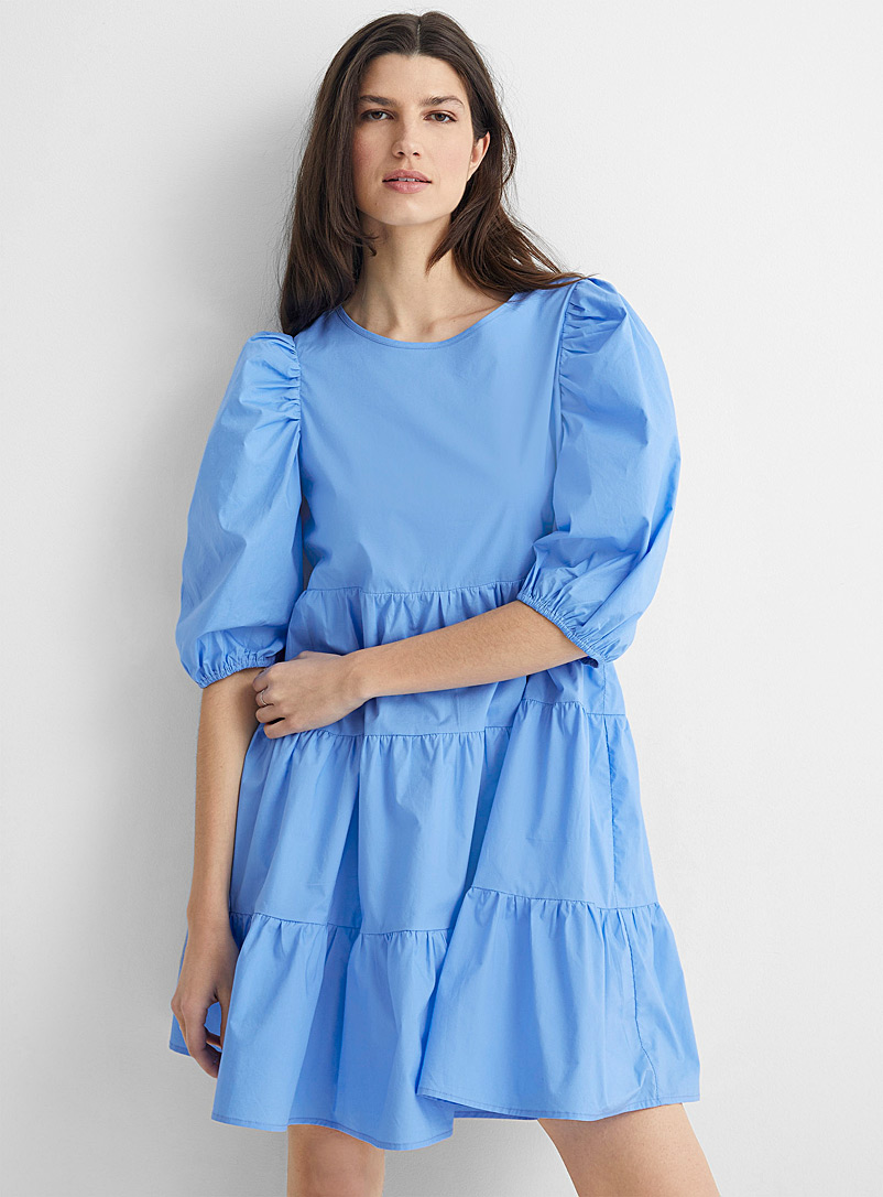 Anonyme Designers Baby Blue Dawn tiered poplin dress for women