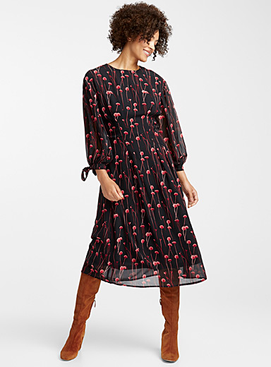 Nocturnal garden midi dress