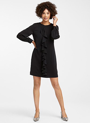 Cascading ruffle fluid dress