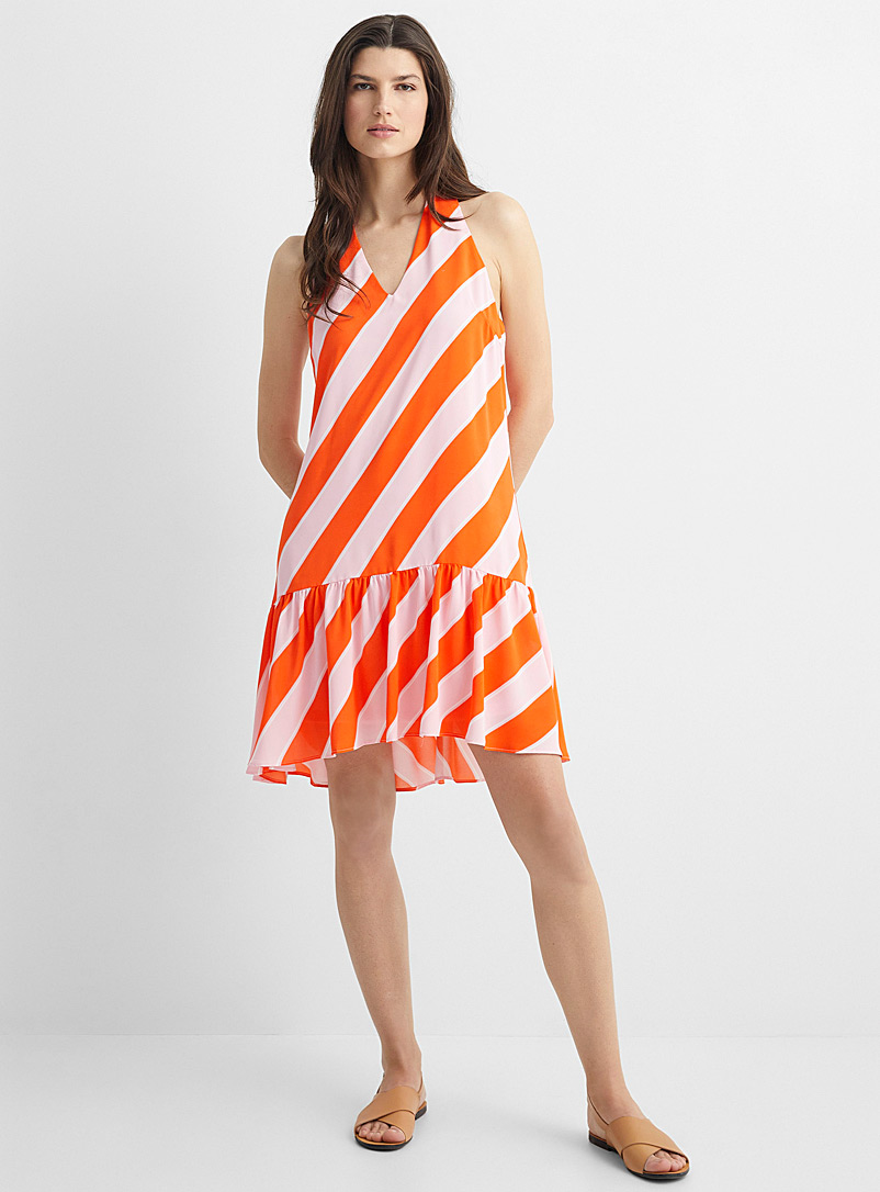 Anonyme Designers Patterned Orange Bright stripe ruffle dress for women