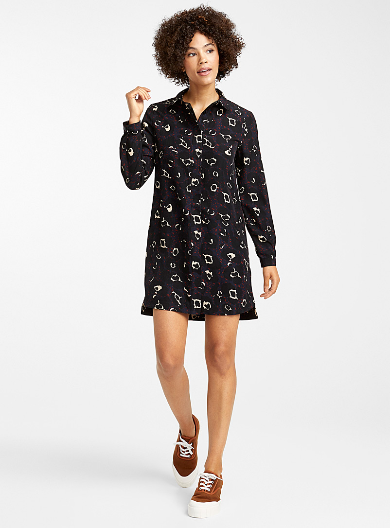 Abstract garden shirtdress - Straight - Patterned Black