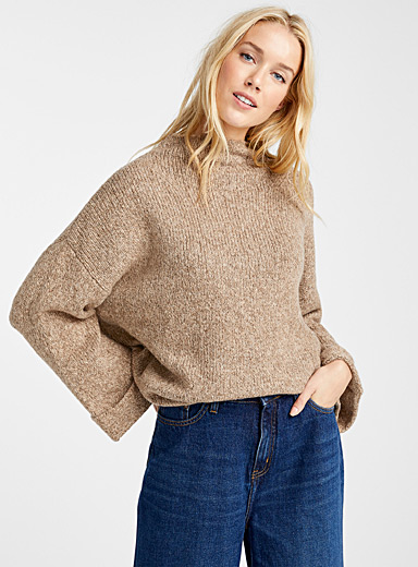 Funnel-neck sand sweater