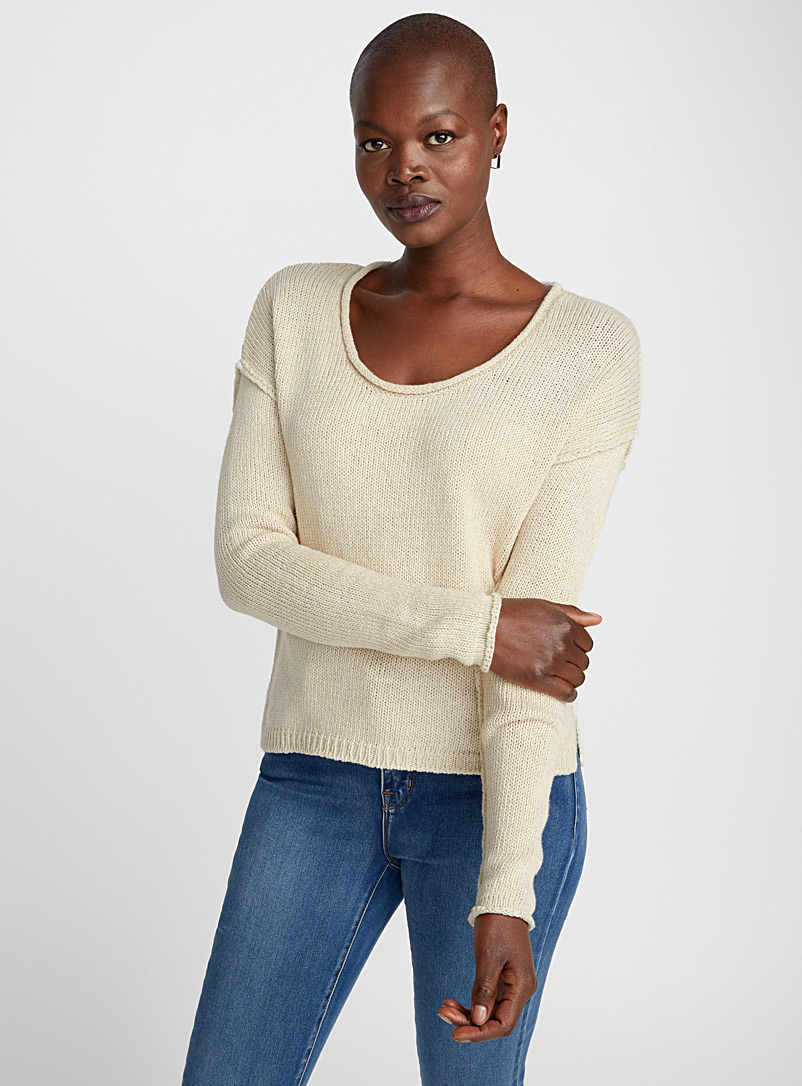 Rustic knit sweater - Sweaters - Cream Beige