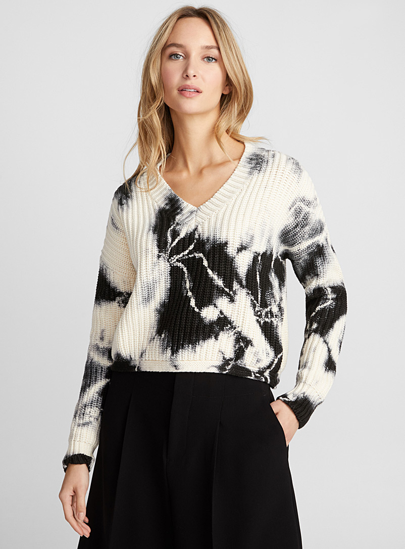 Tie-dye ribbed sweater - Sweaters - Patterned Grey