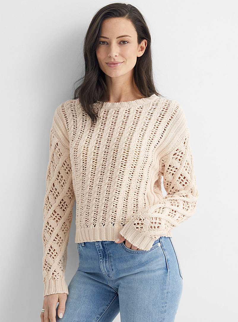 Line Ivory White Cream openwork cropped sweater for women