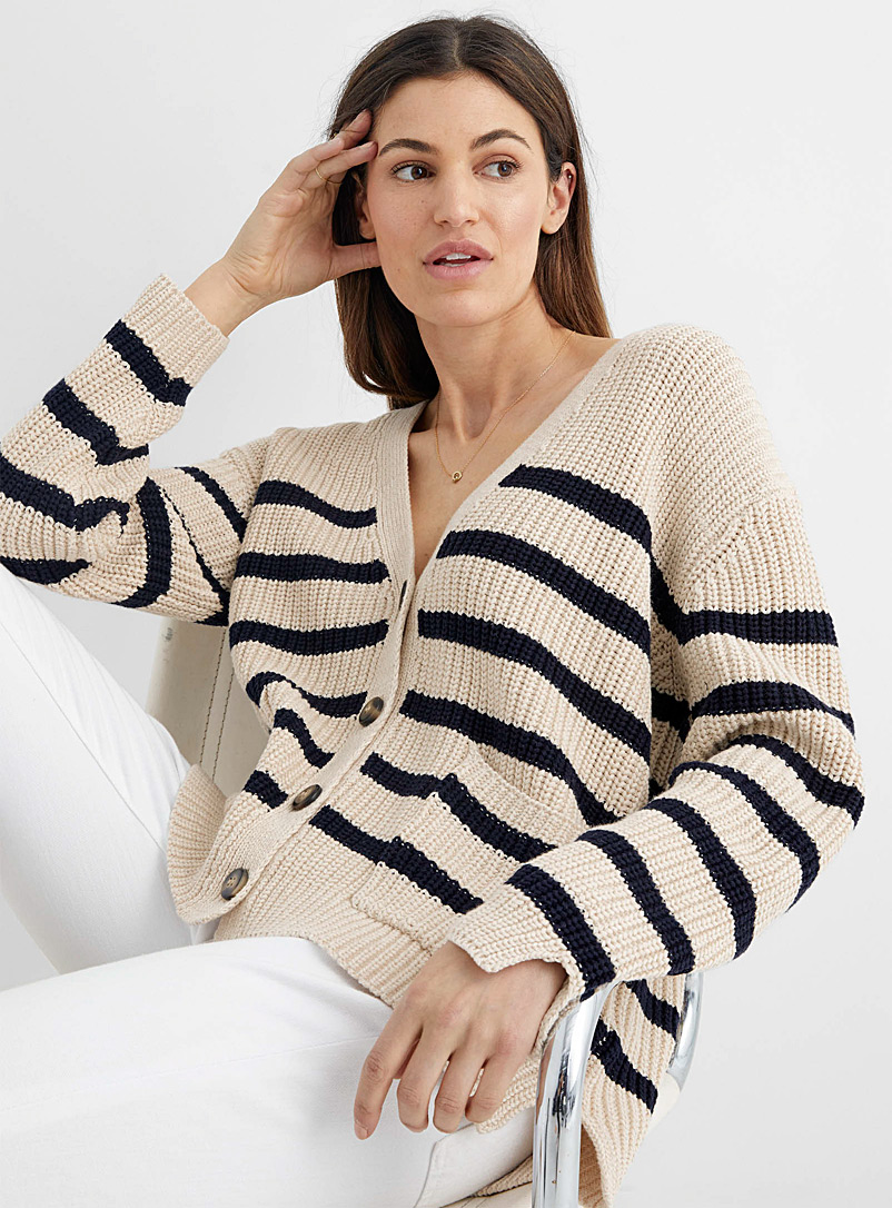 Line Marine Blue Livy striped buttoned cardigan for women
