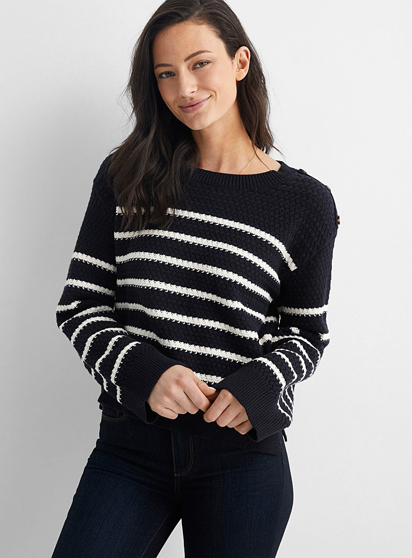 Line Patterned White 3-button striped sweater for women