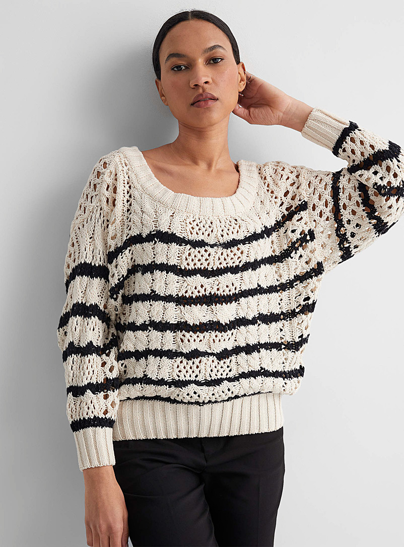 Line Patterned White Cleo contrast stripe openwork sweater for women