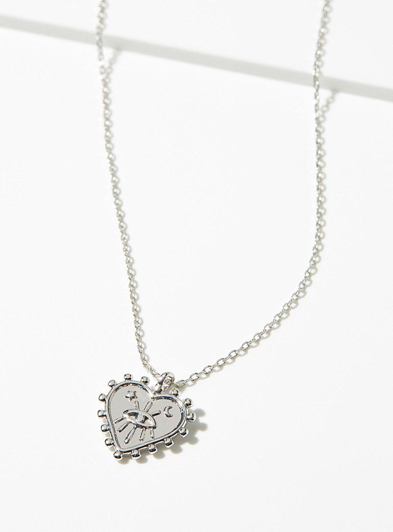 Simons Silver Serrated heart chain for women