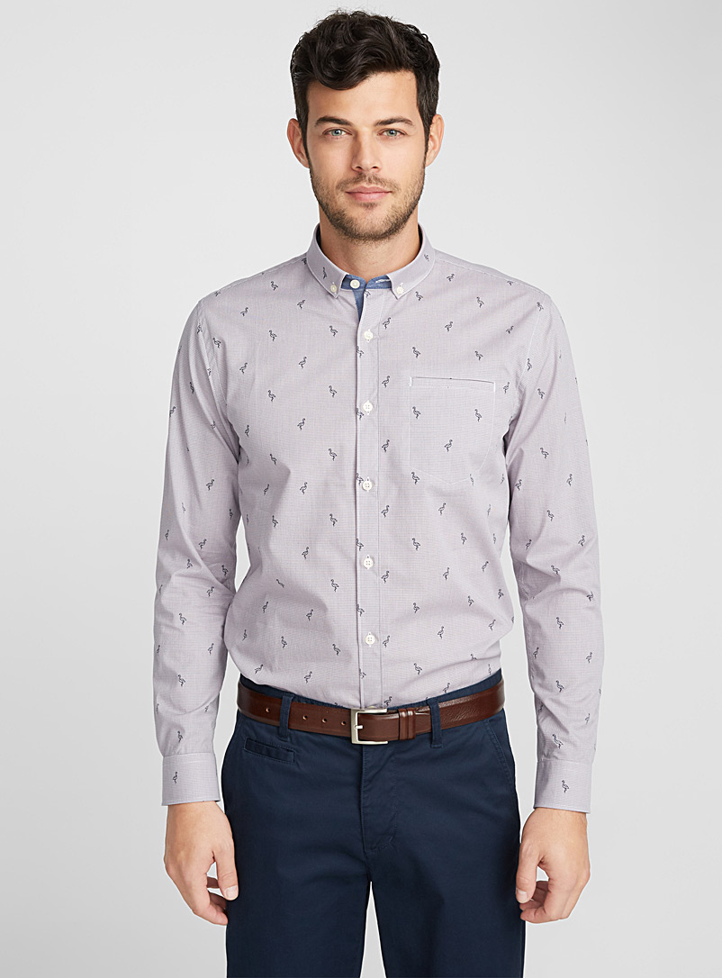 Micro-pattern check shirt  Semi-tailored fit - Patterns - Lilacs