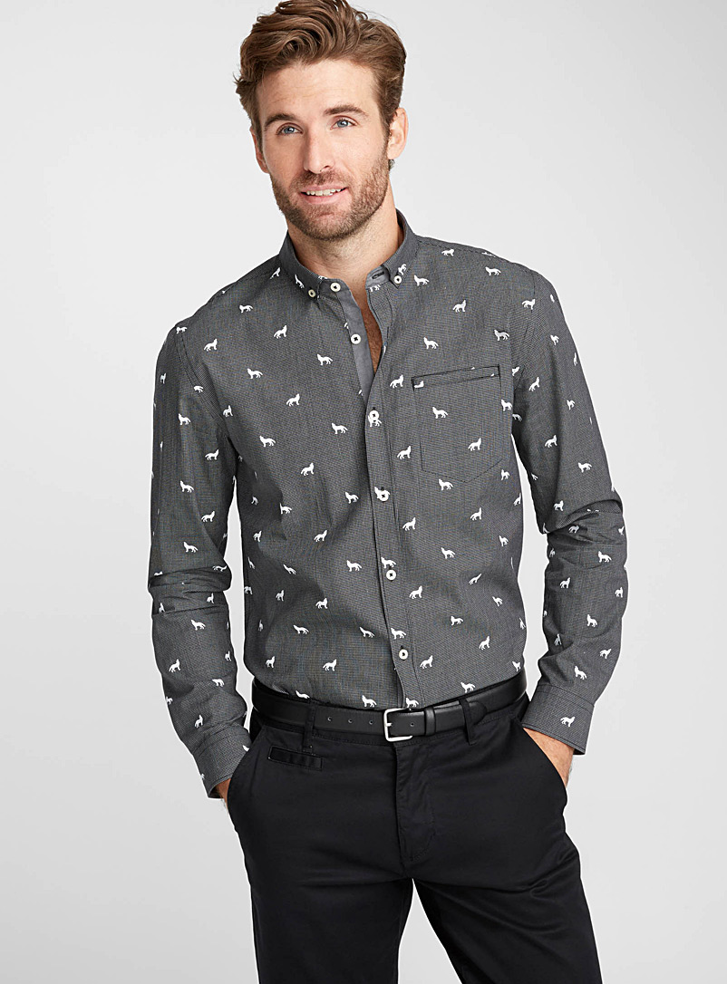 Micro-pattern check shirt  Semi-tailored fit - Patterns - Patterned Black