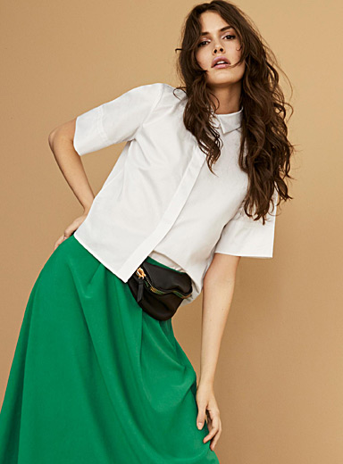 Wide-sleeve boxy shirt