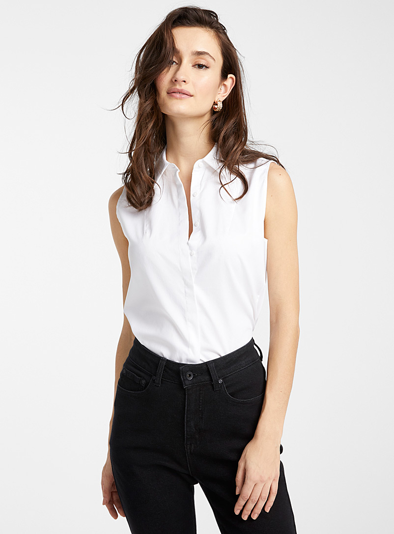Ic?ne Ecru/Linen Sleeveless poplin shirt for women