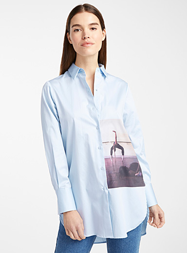 Long photo print poplin shirt