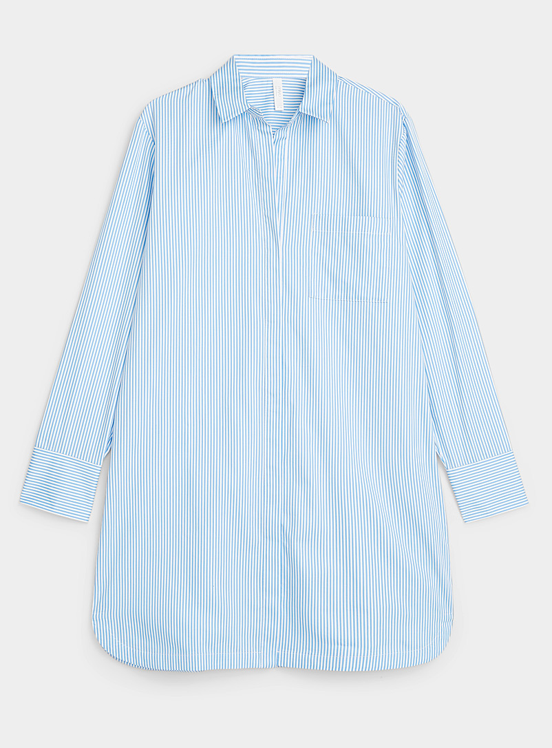 Vertical-stripe organic cotton nightshirt
