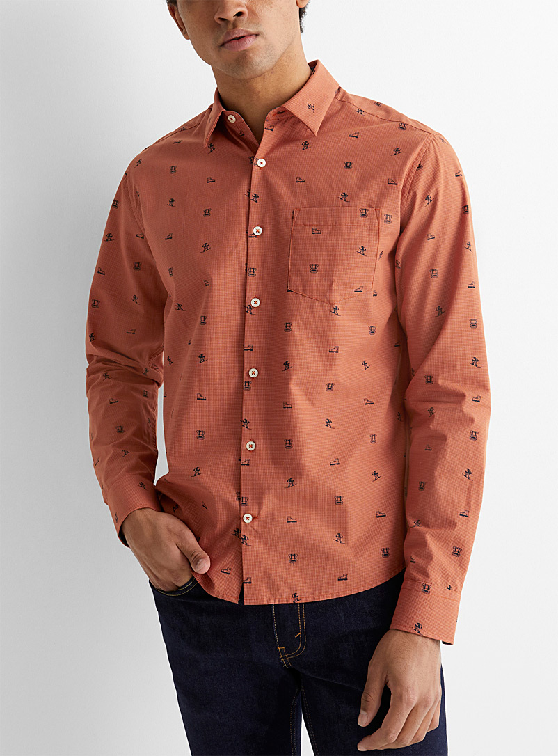 Le 31 Dark Orange Patterned checked shirt  Untucked fit for men
