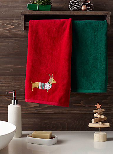 Holiday dachshund hand towels  Set of 2