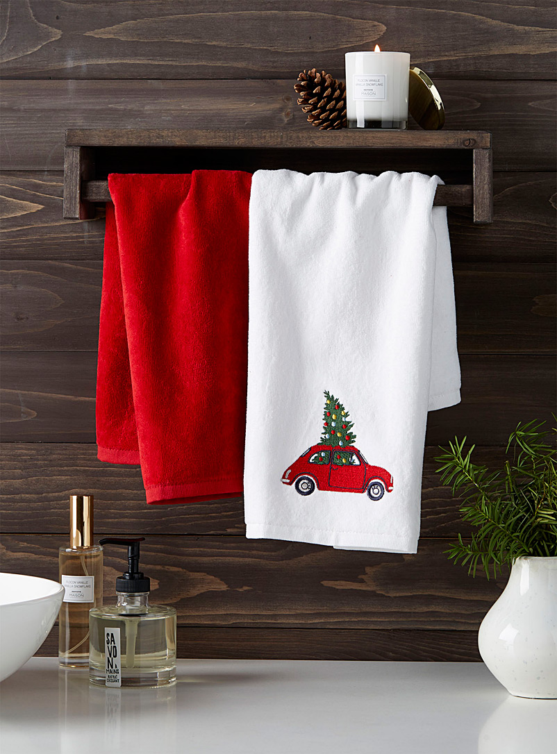 Simons Maison White Bring home the tree hand towels  Set of 2