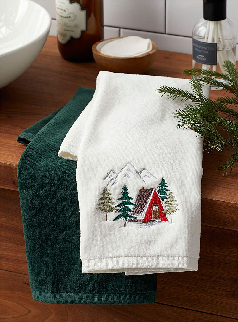 Simons Maison Assorted Snowy village hand towels  Set of 2