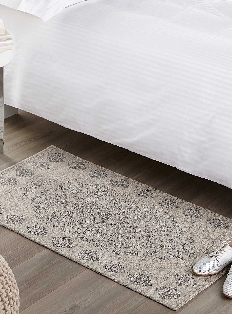 Velvet arabesque rug  65 x 110 cm - Patterned - Patterned White