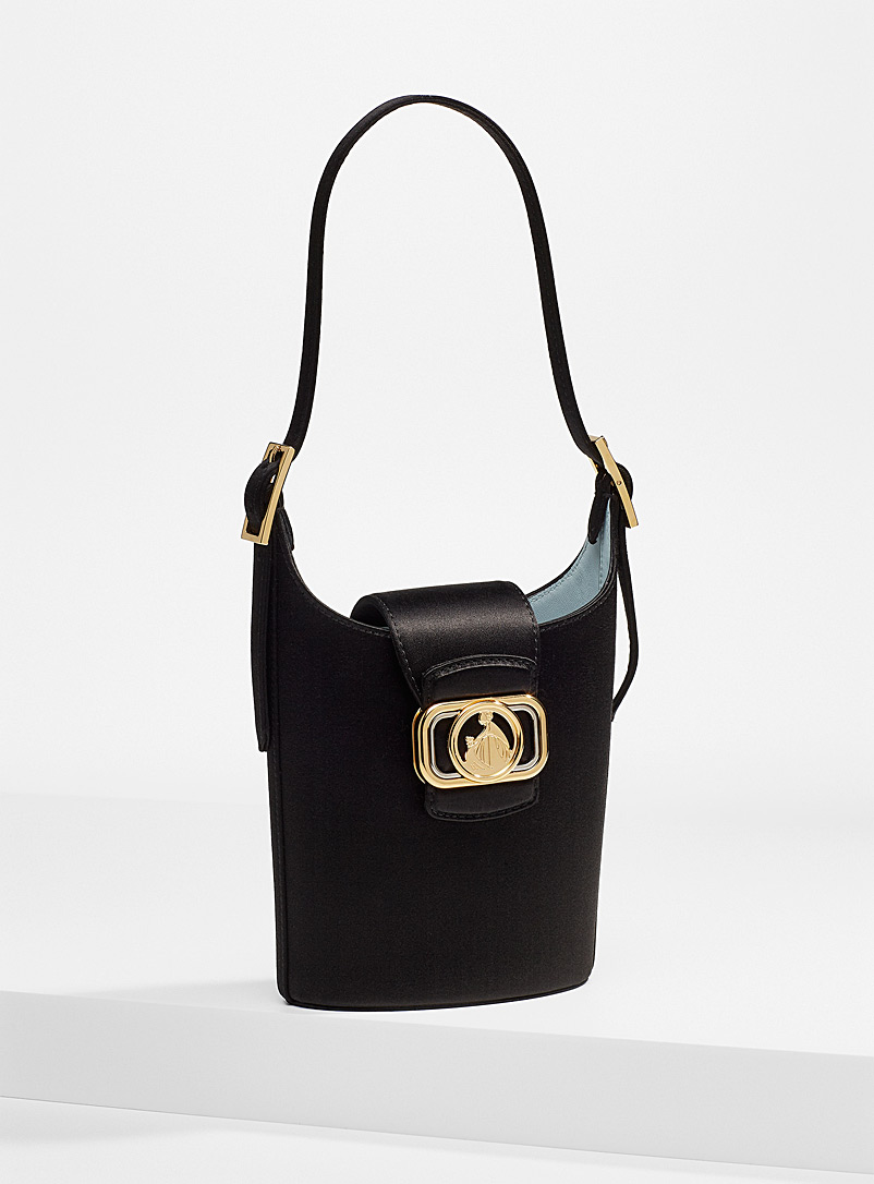 Lanvin Black Swan small satin bucket bag for women