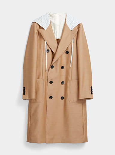 Lanvin Sand Satiny hooded trench coat for men