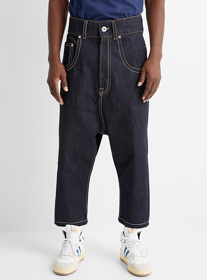Lanvin Marine Blue Accent topstitched jean for men