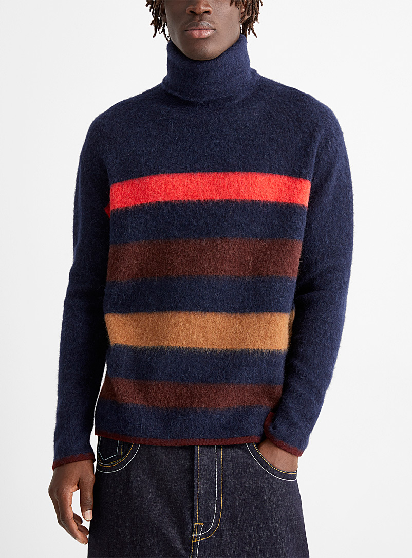 Lanvin Marine Blue Striped knit sweater for men