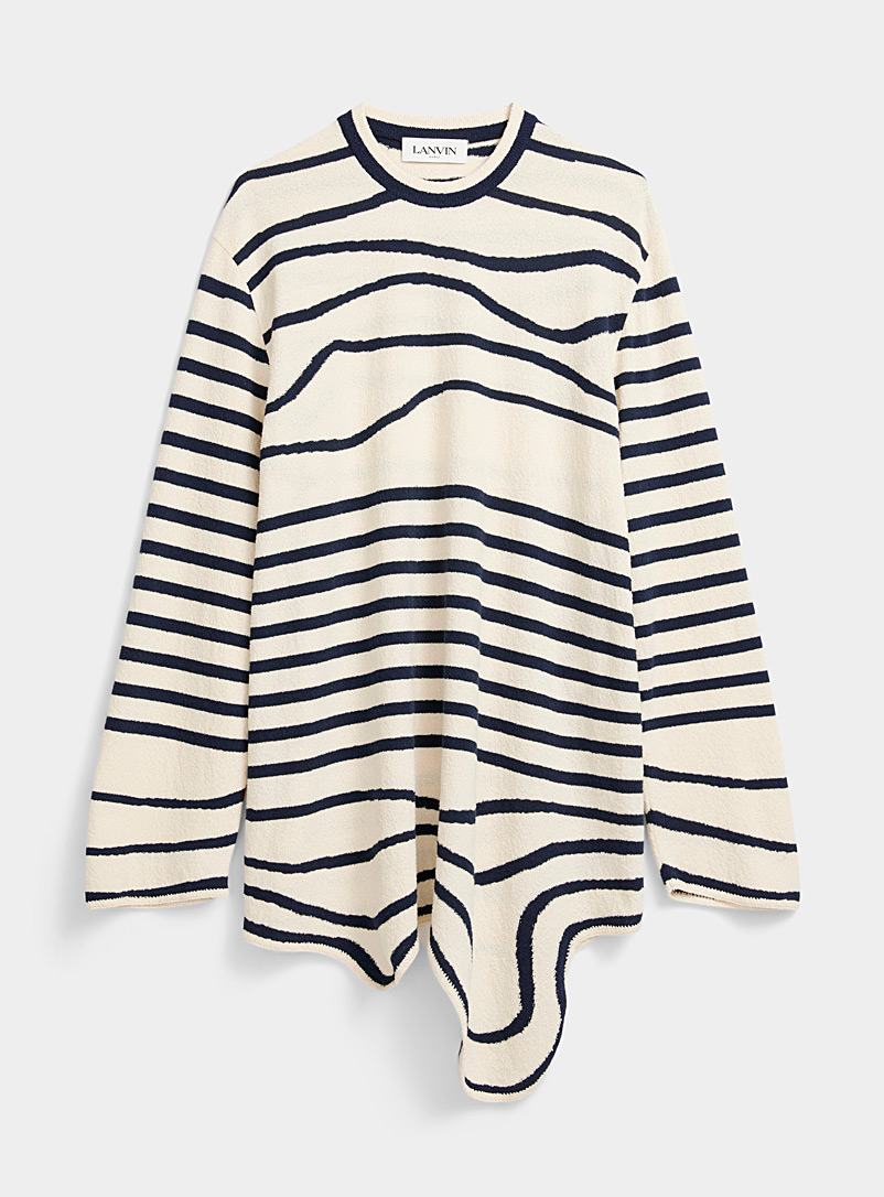 Lanvin Marine Blue Striped terry sweater for men