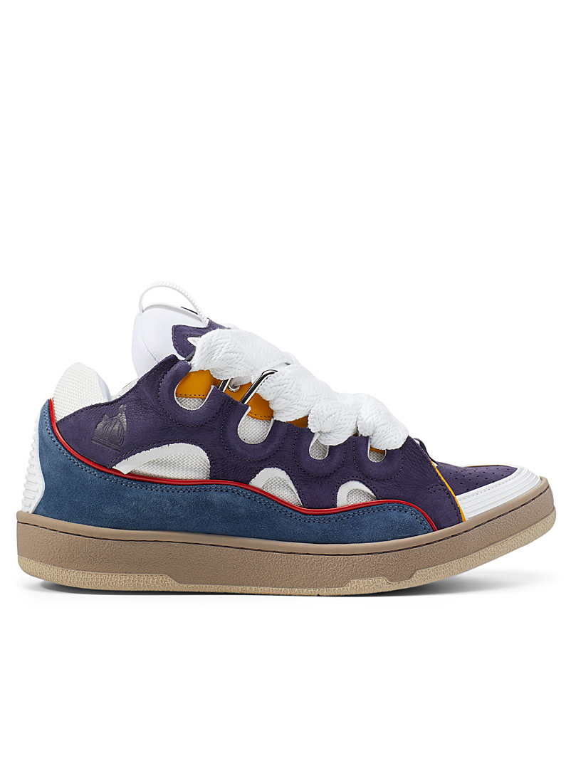 Lanvin Patterned Blue Curb colour block sneakers Men for men