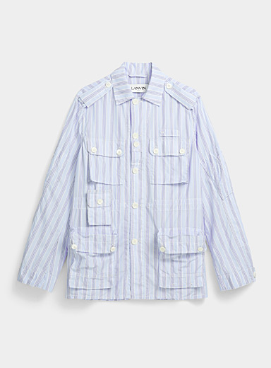 Lanvin Blue Striped shirt jacket for men